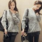 Grey Pullover Crew Neck Long Sleeve Womens Soft Fluffy Sweater Jumper Knitwear
