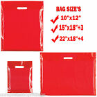RED HEAVY DUTY COLORED PLASTIC CARRIER BAGS PARTY GIFT BAGS IN 3 SIZES