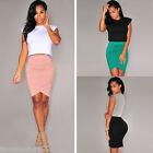 Women's Pleated Party High Waist Pencil Skater Dresses Casual Short Mini Skirt