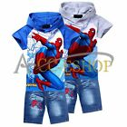 Cool Kids Boys Girls Spiderman Hoodie Tops T-Shirt+Jeans Shorts Suits 2-8Years