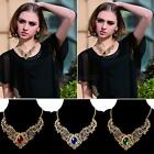 Euramerican Hollow Out Lace Flower Bib Necklace Crystals Gem Statement Necklace