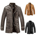 ON SALES Vintage Mens Trench Coat PU Leather Cowboys Motorcycle Jacket Outerwear