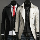 DOUBLE BREASTED SUIT Mens Long Trench Coat Slim Fit Jackets YOUNG FASHION SPRING