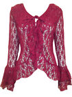 eaonplus Stretch Floral Lace Bell Sleeve GOTHIC Cover-up Cardigan PLUM 22 to 32