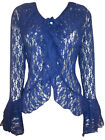 eaonplus Stretch Floral Lace Bell Sleeve GOTHIC Cover-up Cardigan BLUE 18 to 30