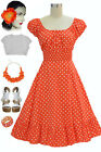 50s Style Orange&White POLKA Dot PLUS SIZE Peasant Top On/Off The Shoulder Dress