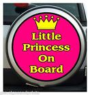 LITTLE PRINCESS ON BOARD (PINK) - WHEEL COVER STICKER 4X4 (CHOICE OF SIZES)