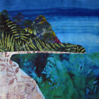 BALI HAI Cool Batik Watercolors~ Organic Cotton Sateen Fabric Quilt Panel Block