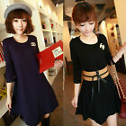 Korean Women Casual Party Evening Cocktail Long Sleeve Waist Mini Dress Clubwear