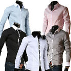 Formal Mens Wedding Tuxedo Casual Long Sleeve Slim Fitted Dress Shirts Tops S-XL