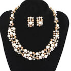 Fashion Charm Jewellery Pearl Crystal Choker Chunky Pendant Chain Bib Necklace