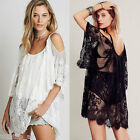 Fashion Sexy Womens Sheer Lace Crochet Swimwear Bikini Cover Up Boho Beach Dress