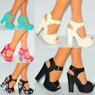 WOMENS STRAPPY HEELS SANDALS BLOCK HEEL PLATFORMS WEDGED WEDGES HIGH SHOES SIZE