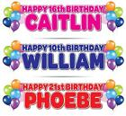 """2 x PERSONALISED BIRTHDAY BANNER 3ft- 36 """"x 11"""" 1st 18th 21st 30th 40th BALLOONS"""