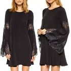 Crochet Lace Fringe Cuff Flared Sleeve Women's Cocktail Party Shift Mini Dress