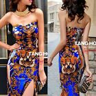 Vogue Strapless Totem Side Slit Package Hip Womens Maxi Full Length Party Dress