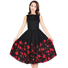 50s Audrey Sleeveless Rockabilly Swing Dress Pin Up Retro Classic Floral Prom