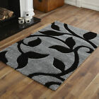 MODERN LARGE MEDIUM SMALL BLACK GREY 3CM CARVED SHAGGY DESIGN  BEST QUALITY RUGS