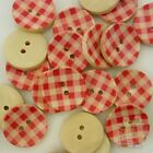 10/50pcs Red Wood Grid Flatback/Button Lots 20MM Embellish DIY Sewing Cards