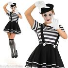 Ladies Sexy French MIME Artist Costume Pierrot Marceau Circus Fancy Dress