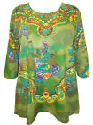 ULLA POPKEN Paisley Floral Print Stretch Cotton Tunic Top OLIVE 12/14 LAST ONES