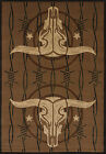 Brown Ivory Lodge Carpet Nature Bullseye Barbwire Horns Skull Area Rug