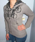 New FOX RACING RIDERS Grey & Black FAUX FUR Hooded Sweatshirt HOODIE S M L XL