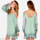 Women Loose Chiffon Casual Beach Blouse Off the shoulder Straps Party Dress