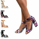 LADIES MID HIGH BLOCK HEELS PEEP TOE SANDALS ANKLE STRAP CUFF PARTY COURT SHOES
