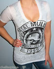 NWT METAL MULISHA MAIDENS White BLACK GRAPHIC Deep V T Shirt BURNOUT Top S M L