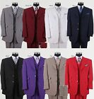 Men's Three Button Poly Poplin Solid Suit With Collared Vest 905