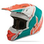 NEW FLY RACING KINETIC PRO CANARD REPLICA MX HELMET WHITE/TEAL/ ORANGE ALL SIZES