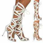 Ladies Knee High Cut Out Lace Up Stiletto Heel Gladiator Sandals Zip Boots Shoes