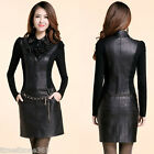New Women Lady Turn-down Collar Faux Leather Patchwork Sequin Ruffle Slim Dress