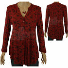 Ladies Monsoon Sahara Red & Black Embroidered Jersey Tunic Top Smart Casual