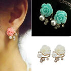 New Pink/White/Green Rose Flower Gorgeous Crystal Rhinestone Pearl Stud Earring