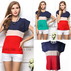 Womens Fashion  Tops T-Shirt Stretch Casual Chiffon Short Sleeve Shirt Blouse