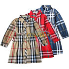 Girls Kids Baby Plaids Checks Long Sleeve Party Top Dress Tartan Outfit Clothes