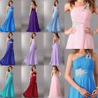 Stock~ Long Chiffon One Shoulder Evening Formal Bridesmaid Prom Party Gown Dress