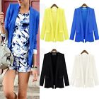 Womens Ladies Candy Color Long Sleeve Slim Suit Jacket Blazer Coat SZ 8 10 12 14