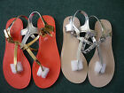 Ladies Toe Post Slingback Summer Sandals Gold or Silver 'New Look' sizes 3 to 8