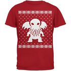 Big Cthulhu Lovecraft Ugly Christmas Sweater Red Adult T-Shirt