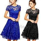 Sexy Lady Women Formal Floral Lace Party Vintage Wedding Cocktail Evening Dress