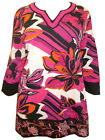 ULLA POPKEN Stretch Cotton PINK FLORAL EMBROIDERED Tunic Top Size 12/14 & 16/18