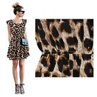 Women Fashion 2015 Leopard Casual Evening Cocktail Party Mini Dress Summer Dress