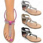 LADIES DIAMANTE STRAP SANDALS WOMENS GLADIATOR TOE POST SHOES FLAT THONG SIZE