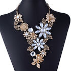 New Flower Cluster Leaves Charm Bib Statement Crystal Necklace Earrings Set Gold