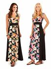 Womens Maxi Dress Full Length Floral Stretch Panel Summer Dress Ladies Size 8-16