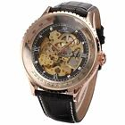 Ks Men's Royal Carving Automatic Mechanical Skeleton Leather Sport Wrist Watch