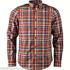 BEN SHERMAN Men's Long Sleeved B/D Check Shirt Cotton MA10857Maroon L-XXL